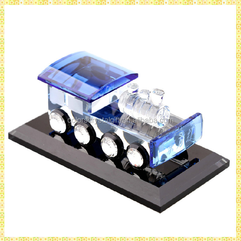 Blue Old Car Crystal Glass Train Head Model For Office Table Decorations