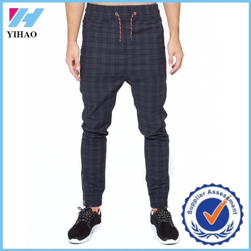 Trade Assurance 2015 New Man Custom Sports Gym Wear Punk Check Temple Jogger Pants