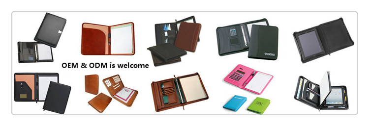 Business Leather Ring Binder Files Folder Documents Travel Portfolios with Calculator