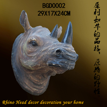 Resin rhinoceros Head Statues for Wall Ornaments