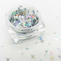 New hot sales Silver holographic Four point Star for Nail Art Makeup Facepainting Craft