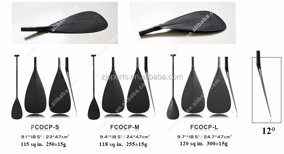 High Quality Lightweight Bent Shaft Carbon Fiber Outrigger Boat Paddle