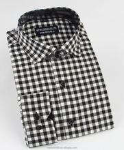 2017 spread collar gingham check men's flannel shirts