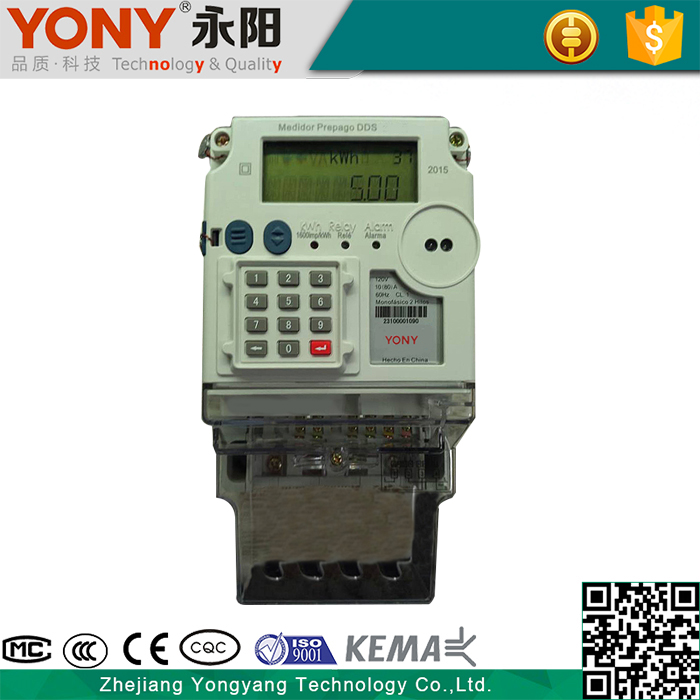 Flexible Tariff Setting Overload Detection Single Phase Static Electronic Kwh Meter