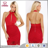 Hot sale fashion design halter neckline sexy red backless bodycon lace dress