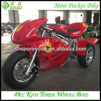 Cheap 2-Stroke 3 Wheel Pocket Bike 49cc Petrol Pit Bike