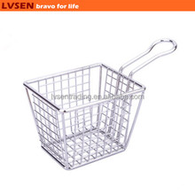 stainless steel small wire mesh basket strainer, wire mesh fry basket, kitchen cooking basket