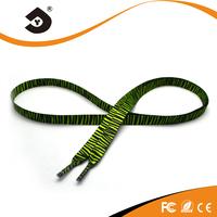 Fashion shoelace 4mm reflective laces with polyester shoe lace tips