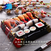 Bento plate jepenese nori sushi box packaging, sushi to go box packaging disposable plastic food trays container with lid