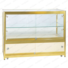 Glossy gold glass display cabinet for watches with flush mounted LED strip/ fully visible glass display for jewelry display