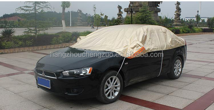 Hot Selling Waterproof Sun Protection Heated Hail Half Car Cover,CZX-018 Sun shade fabric heat resistant half car cover