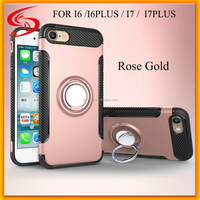 Fashion Cellphone Armor ShockProof 3 in 1 Back Case Cover for iphone 7, for Iphone 7 Case With Ring Holder