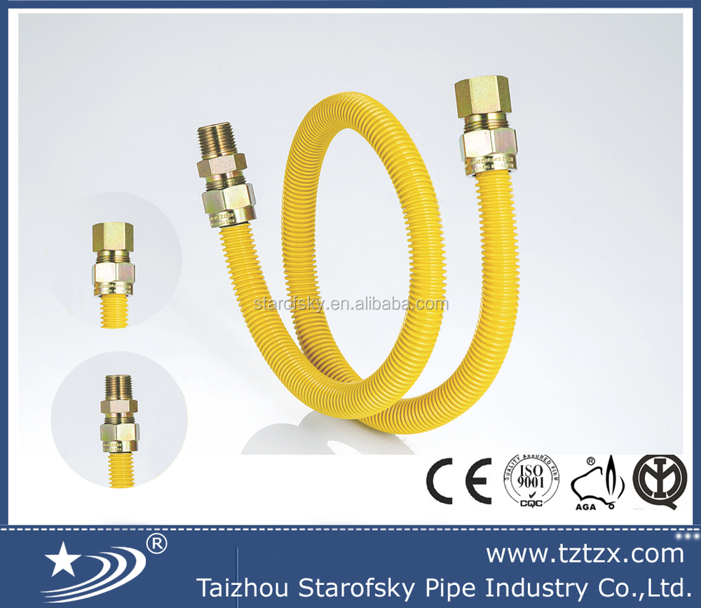 CSA Stainless steel spiral corrugated gas pipe with yellow coated
