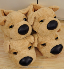 free sample dog shape coral Plush winter house shoes Slippers / animal shape design warm indoor plush shoes