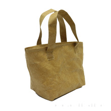 Recycle Eco-friendly Waterproof Dupont Kraft Paper Tyvek Women Tote Handbag Cooler Insulated Lunch Bag Office