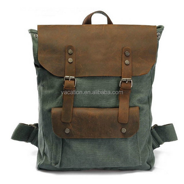 wholesale canvas cosmetic bag backpack with leather cover