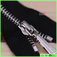 1# square teeth single pull small metal zipper Zip fastener for Wallet green standard shiny nickel