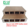 hollow solid wpc wooden grain decking