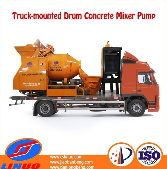 C5 Self loading Electric concrete mixer pump/concrete pump car with mixer