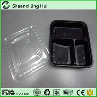 wholesale disposable plastic storage containers, with clear lid lunch box, 3 compartment food box