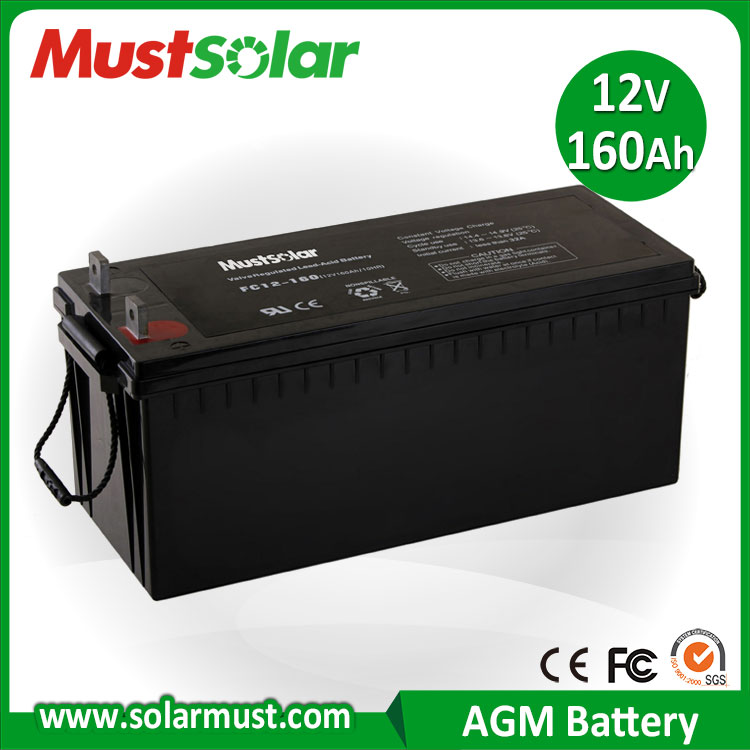 Hot Sale 12V 160Ah Rechargeable Solar Battery for Solar Charger
