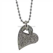 Fashion Enamel 316I Stainless Steel Heart Charms Women Pendant with Full Crystal Jewlery