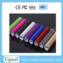 Aluminium 2400mAh,2600mAh Lipstic portable mobile USB power bank for gift and promotion