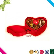 Passion red fabric covered heart shaped gift boxes for chocolate