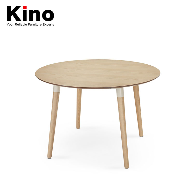 European style contracted round tea table white oak solid wood round coffee table