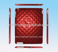 3D diamond rubberizd hard case for ipad 2