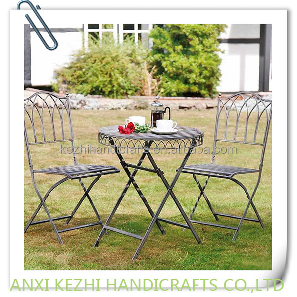 S/3 Wash Grey Steel Table and Chair Bistro set