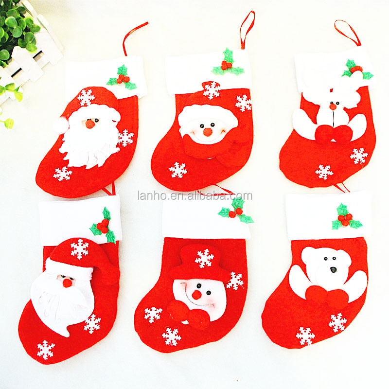 New Year Santa Stockings 6pcs/lot Christmas Decoration Candy Bag Children Gifts Bags Christmas Tree Hanging Ornaments Decor