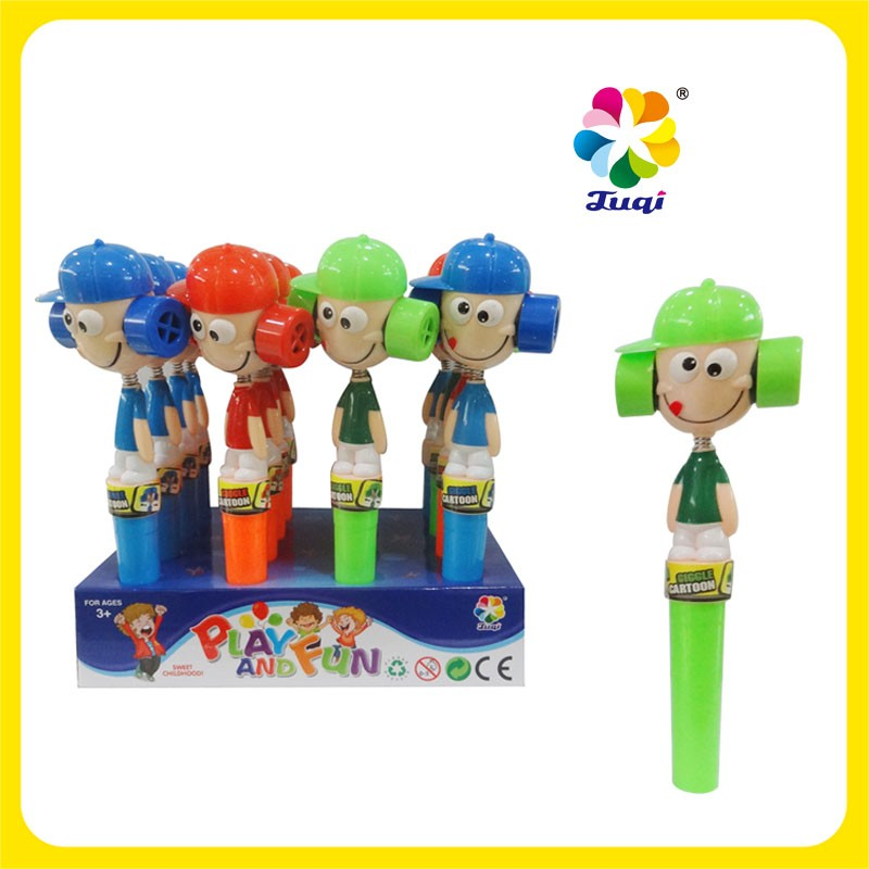 Cartoon figure Plastic Toy Candy with Colorful Candy Stick