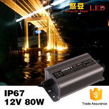 50-60Hz Outdoor Use Waterproo 80W IP67 LED Power Supply 12V DC