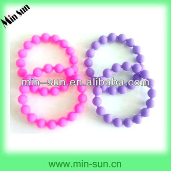 Factory Manufacture Low Cost Silicon Round Beads Bracelet