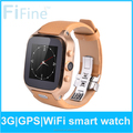 2015 China Factory Genuine Leather Real Waterproof Smartwatch 3G