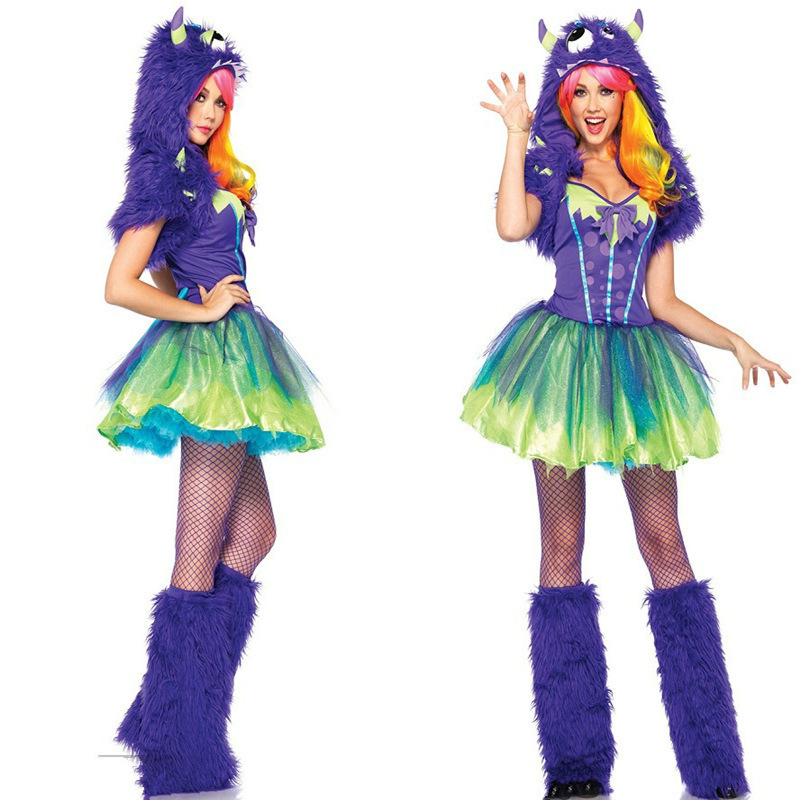 Get Quotations · Halloween Colorful Purple Fox Animal Costume Sexy Cute  Devil Role Play Halloween One-eyed Monster 3f8fb8b9699a