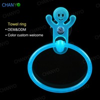 wall mounted plastic lovely kartoon suction cup towel ring