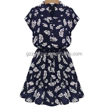 China Factory Black Cotton Floral Printed Formal Dresses with short sleeve for Women Latest