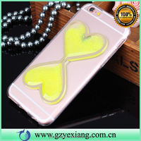 China supplier bling heart shape quicksand liquid tpu mobile phone case for iphone 6 plus glow in the dark back cover