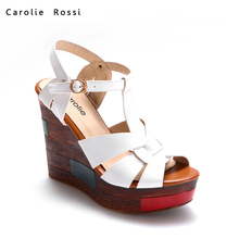 high quality white wedge platform low price ladies sandals
