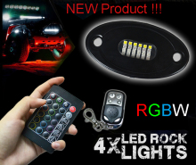 4 Pod RGBW LED Rock Lights 4x4 SUV ATV Automotive Decoration LED Car RGB Under Body Kit With double Remote Control For Jeep