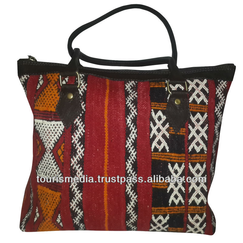 New style of moroccan kilim bags tote leather and kilim handbag
