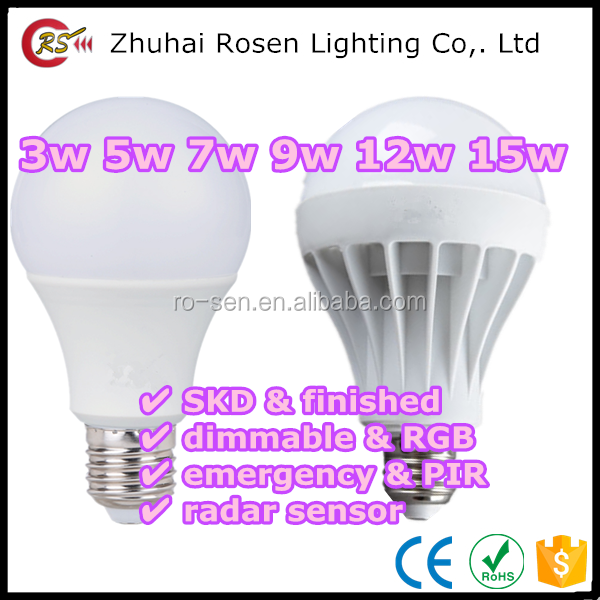 new product discount special offer E27 plastic 3w 5w 7w 9w 12w 15w color changing LED bulb light