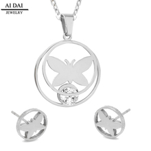 Cubic Zirconia jewelry necklace earrings jewelry sets, high quality stainless steel fine jewelry Mother's Day gift
