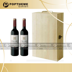 High class cardboard wooden wine carrier,wine boxes for sale for 2 bottles with holder