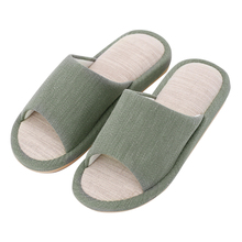 2017 men and women hotel and home used soft sole linen yarn-dyed indoor slippers