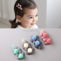 2017 New Coming Popular Baby Girls Sweet Knit Flower and Ball Hair Clips