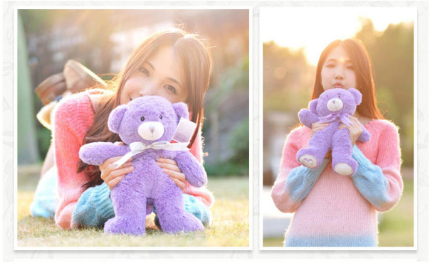 Plush toy purple lavender teddy bear reusable microwaveable bed toys