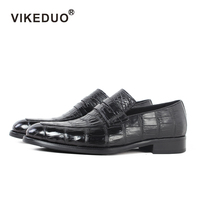 black penny loafers real mens crocodile leather shoes brand